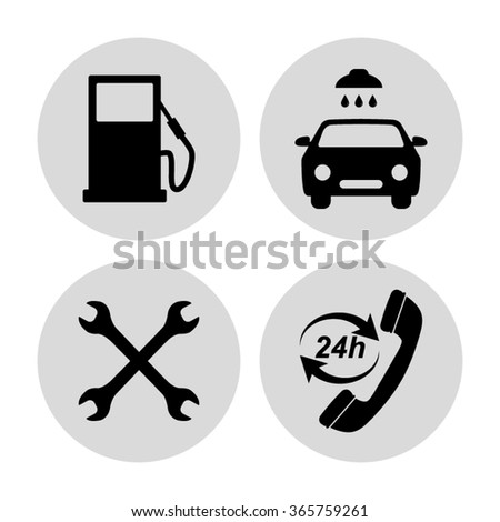 Gas station  service icons set - stock vector