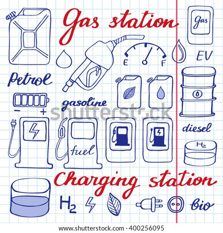 Gas station set. Hand-drawn cartoon collection of petrol icons - fuel, can, road sign, pump. Doodle pen drawing on the notebook page. Vector illustration - stock vector