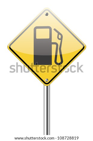 Gas station sign on white - stock vector