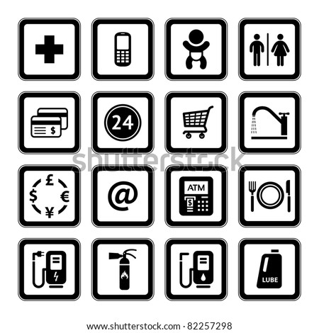 Gas station. Symbols Roadside services. Signs set car services. Black - stock vector