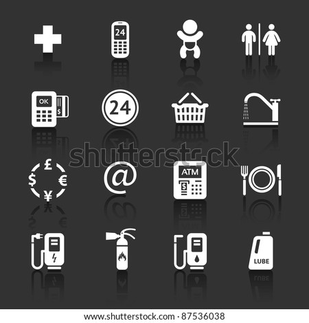 Gas station. Symbols Roadside services. Signs set car services. Dark gray background - stock vector