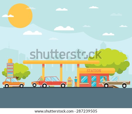 Gas station vector illustration - stock vector
