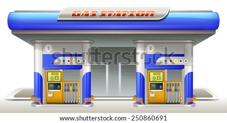 Gas station. Vector illustration eps 10. All elements on separate layers. Easy to edit. - stock vector