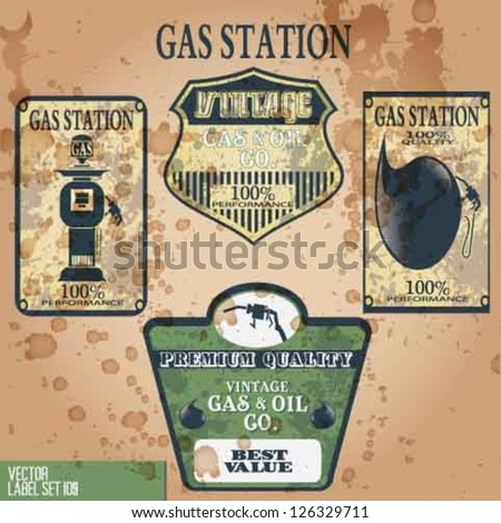 GAS STATION VINTAGE VECTOR ELEMENTS - stock vector
