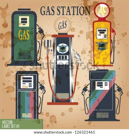 GAS STATION VINTAGE VECTOR ELEMENTS.GAS PUMP VECTOR SET. - stock vector