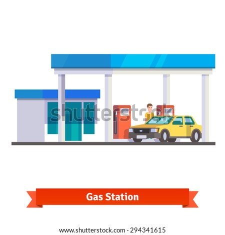 Gas station with man fuelling car. Flat vector illustration isolated on white background. - stock vector