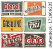 Gas stations and car service vintage tin signs collection. Set of transportation retro metal signs and ads. - stock