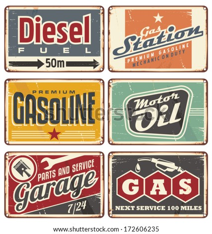 Gas stations and car service vintage tin signs collection. Set of transportation retro metal signs and ads. - stock vector