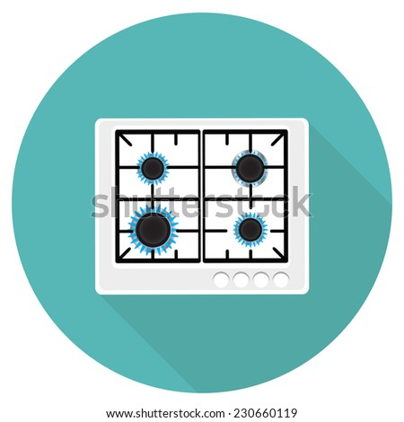 Gas stove with four burners icon - stock vector