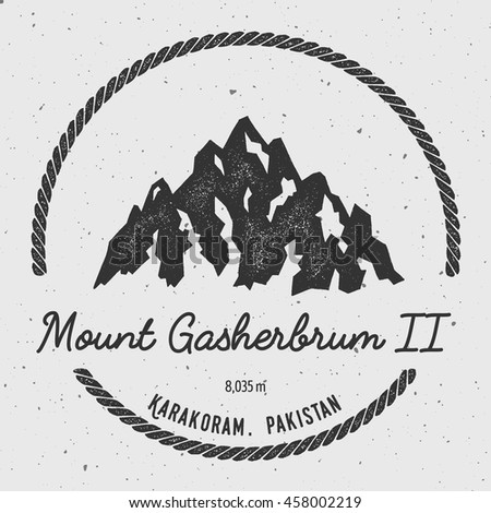 Gasherbrum II in Karakoram, Pakistan outdoor adventure logo. Round hiking vector insignia. Climbing, trekking, hiking, mountaineering and other extreme activities logo template.