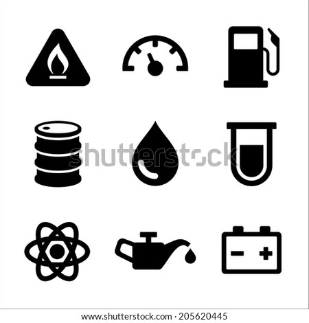 Gasoline Diesel Fuel Service Station Icons Set. Vector illustration - stock vector