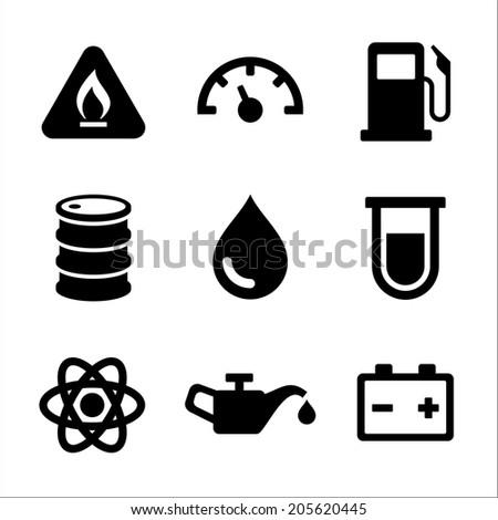Gasoline Diesel Fuel Service Station Icons Set. Vector illustration - stock vector