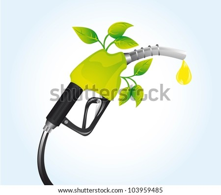 gasoline fuel with leaves over blue background. vector - stock vector