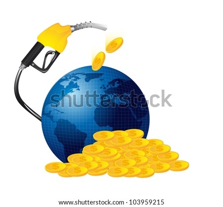 gasoline fuel with money isolated. vector illustration - stock vector