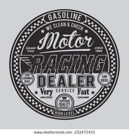 Gasoline motor typography, t-shirt graphics, vectors - stock vector