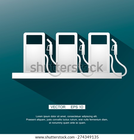 Gasoline pump nozzle sign.Gas station icon. Flat design style. Vector icon or symbol - stock vector