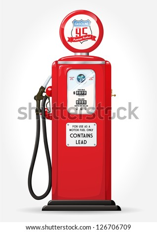 Gasoline pump retro design - stock vector