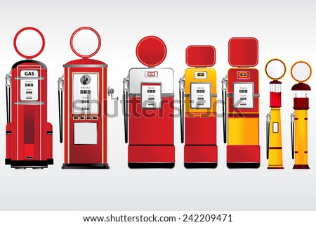 gasoline pumps retro and vintage style collection set vector - stock vector