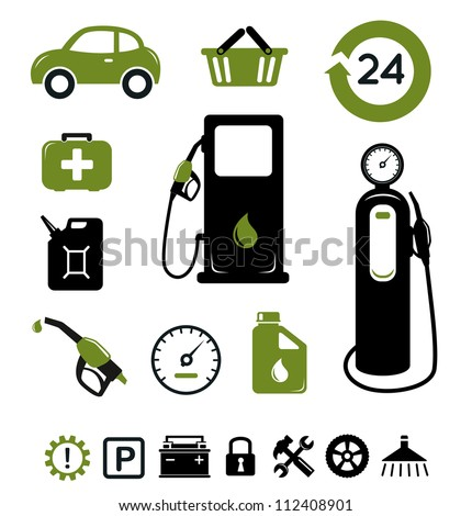 Gasoline station and pit stop icons set - stock vector