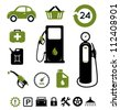 Gasoline station icons set - stock vector