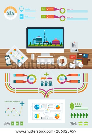 gasoline station infographics with ecology factory, business graphics and technology icons in really life - stock vector