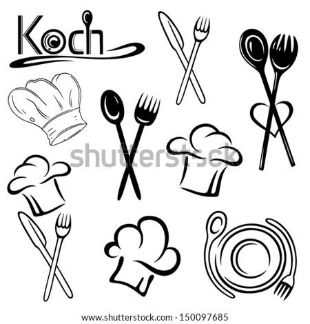 Gastronomy, cooking vector set, chef hats - stock vector