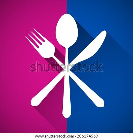 Gastronomy - Restaurant symbol, fork, knife and spoon - stock vector