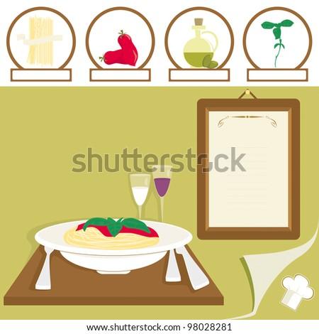 Gastronomy: Spaghetti with tomato sauce - stock vector