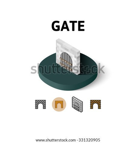 Gate icon, vector symbol in flat, outline and isometric style - stock vector