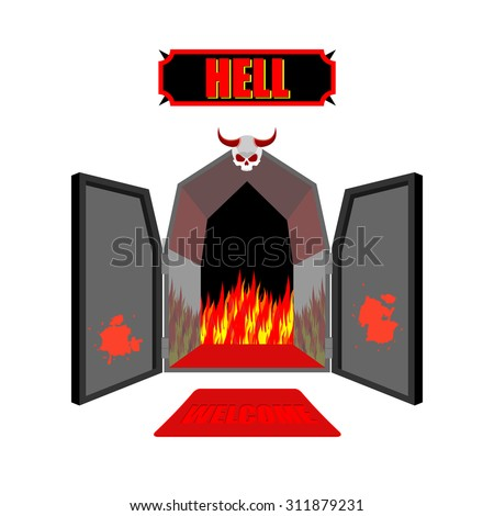 Gate to hell. Entrance to hellish Inferno. Access to Satan. Flames for combustion of sinners. Welcome to hell. Black iron open door in purgatory. Scary door with skull and horns vector illustration. - stock vector