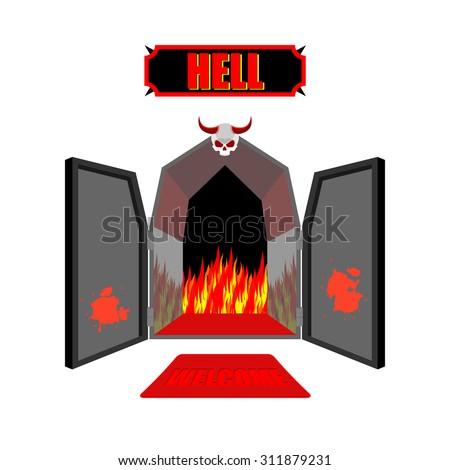 Open Door Welcome Clipart welcome to hell banco de imágenes. fotos y vectores libres de