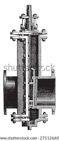 Gate valve, vintage engraved illustration. Industrial encyclopedia E.-O. Lami - 1875.