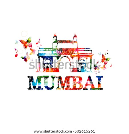 Gateway of India, Mumbai landmark design for poster, brochure, banner. Mumbai architecture template vector illustration, travel background. Colorful India famous city monuments, Mumbai skyline symbol
