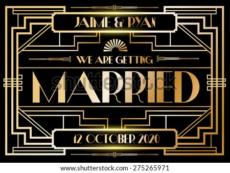 Gatsby art deco wedding invitation card stock vector 275265971 gatsby art deco wedding invitation card template vectorillustrator stopboris Image collections