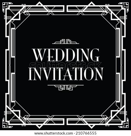 gatsby art deco wedding invite - stock vector
