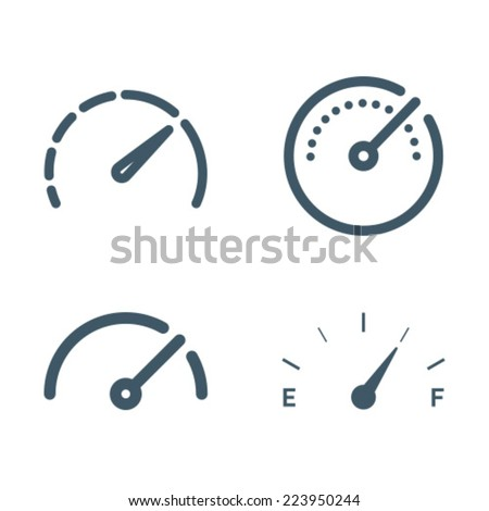 Gauge Meter Icon Symbol Set Stock Vector 223950244 - Shutterstock
