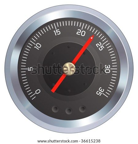 Gauge or meter illustration.  Could be a pressure or water meter, odometer, tachometer, speedometer, or any dial measurement indicator.