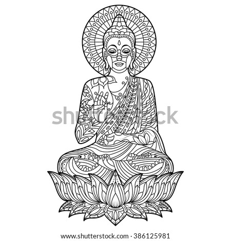 Gautam buddha coloring page position for meditation  - stock vector
