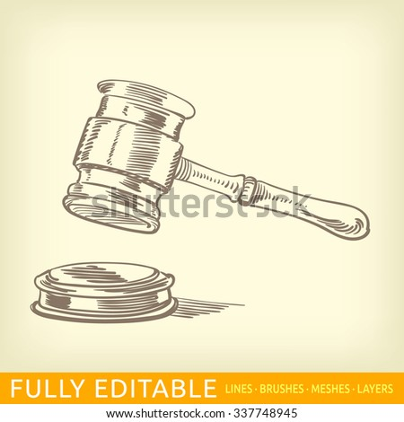 Gavel. - stock vector