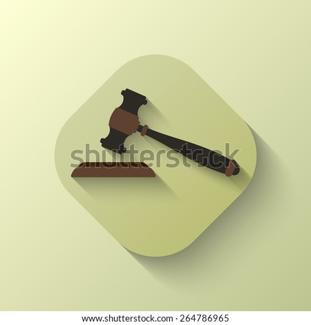 Gavel icon. Auction hammer. Shadow. Flat. Brown. Vector illustration for your design - stock vector