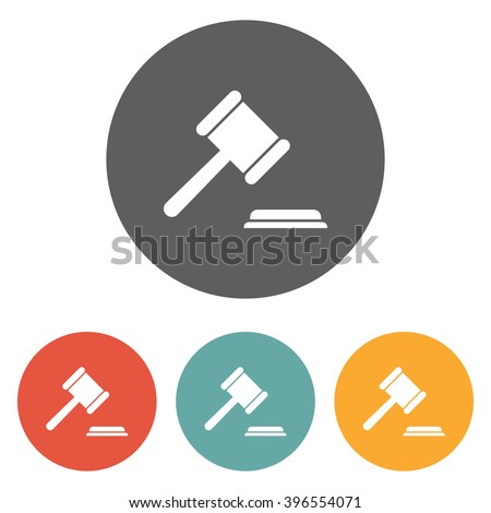 gavel icon , judge hammer icon , bid icon - stock vector