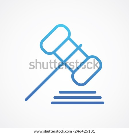 Gavel icon. Simple flat style vector illustration - stock vector