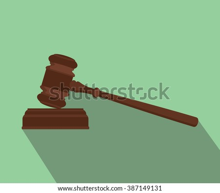 gavel isolated flat with long shadow green background
