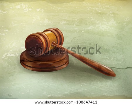 Gavel, old-style vector - stock vector