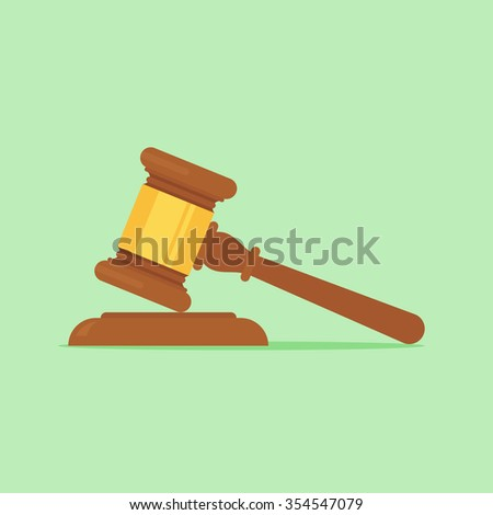 Gavel vector illustration. Gavel judge in a flat style. Gavel icon flat. Gavel isolated on a colored background. Gavel law concept. Wooden gavel judge. - stock vector