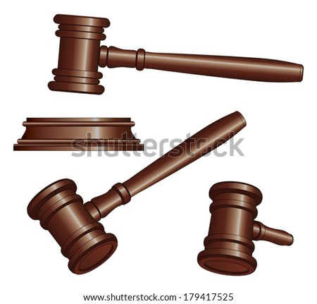 Gavels is an illustration of three versions of a gavel used by court judges and other symbols of authority. Gavels are used to call for attention or to punctuate rulings and proclamations. - stock vector