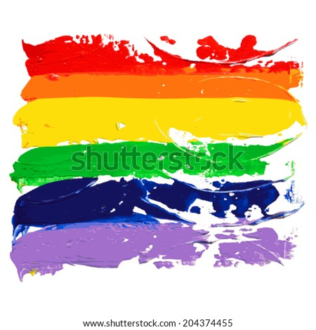 Gay and LGBT rainbow colors flag. Handmade. Textured, made with acrylic paint and canvas. Vector. - stock vector