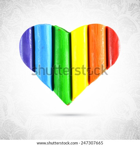Gay and LGBT rainbow colors heart shape. Handmade. Textured, made with plasticine, dough and modeling clay. Vector. - stock vector