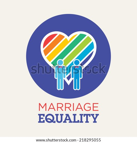 gay couples marriage equality with rainbow heart - stock vector