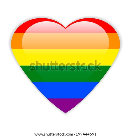 Gay flag button in the form of heart. Vector illustration. - stock vector